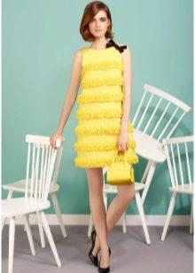 Klänning trapeze fransed gul