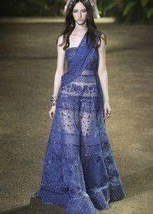 Flared blå klänning