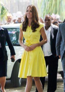 Keltainen mekko paita naisille väri tyyppi kesä
