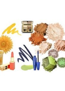 Color range of decorative cosmetics for women of the color type Autumn