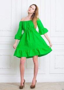Lyhyt pellava mekko vihreä