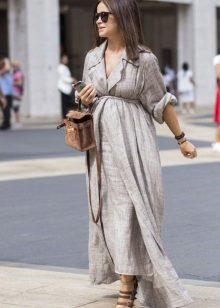 Pitkä pellava harmaa mekko