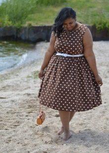 Vestit de línia marró per a dones obeses