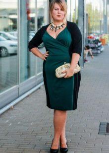 Estoig vestit negre i verd bicolor per a dones obeses