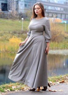 Vestit de línia A de color gris tancat llarg amb mànigues llargues per a dones obeses