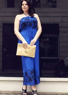 Vestit llarg de color blau per a dones obeses