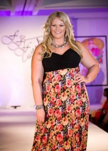 Vestit vestit amb un cosset negre i una faldilla estampada floral per a dones obeses