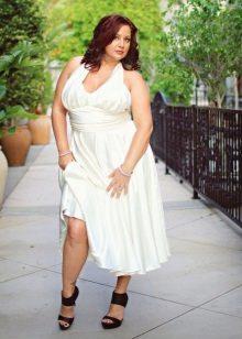 Vestit llarg blanc amb cintura alta per a dones obeses