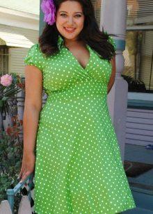 Vestit curt de puntes de polka de color verd i blanc per a dones de peses
