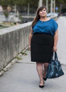 Bossa de volum blau per a un vestit d'oficina de dos colors per complet