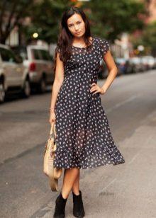 Zwarte middellange polka dot A-lijn jurk