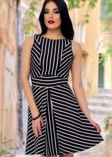 Striped Black and White A-Line Dress