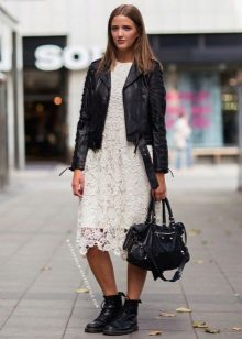 Leather jacket to A-line lace dress