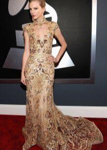 שמלה ארוכה עם טביעת צבע בצבע בז 'עם הדפס מוזהב
