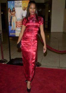 ארוך פטל zip שמלה (שמלת chongsam) עם שרוולים קצרים