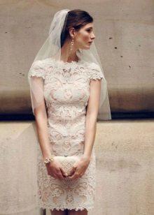 Light peach lace wedding dress