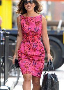 Pink Short Printed Sheath Dress