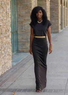 Long black sheath dress