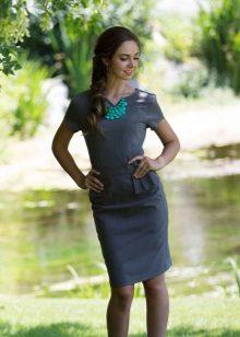 Gray sheath dress with basky