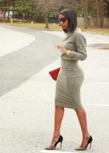 Gray Long Sleeve Sheath Dress