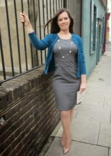 Gray dress with a simple cut