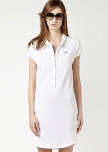לבן פולו השמלה עם כפתורים לטבור