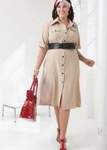 שמלת פולו בסגנון ספארי עם רצועה מלאה