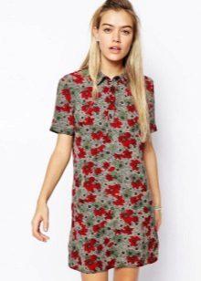 שמלת פולו אפורה עם הדפס פרחוני אדום