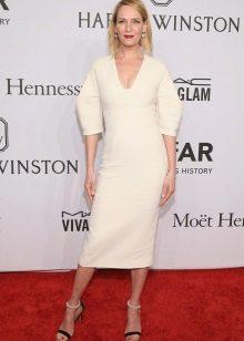 Baju putih lurus panjang panjang sederhana