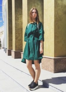 Green Loose Dress Shirt