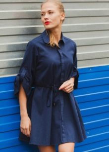 Silk Blue Shirt Dress