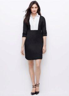 Black white shirt dress