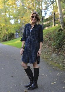 Medium length checkered shirt dress