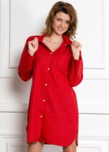 Red Home Shirt Dress