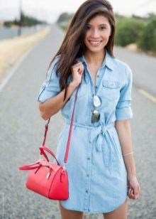 Denim shirt dress on a belt