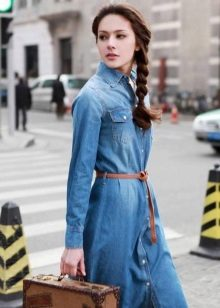 Denim shirt dress with belt for retro look