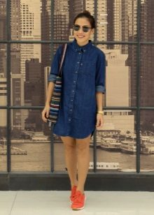 Casual denim shirt dress