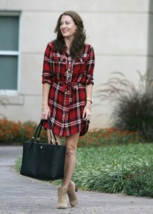 Checkered shirt dress at the waist