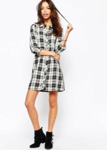 Black and White Check Shirt Dress