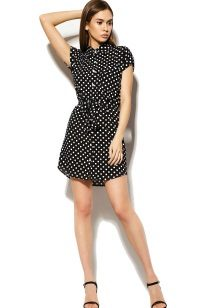 Black and White Polka Dot Shirt Dress