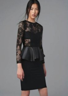 Basque dress with lace long sleeves