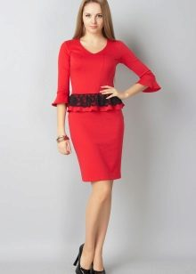Red dress with lace basky