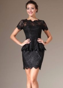 Short lace dress with basky