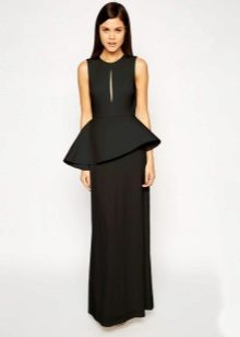 Long black dress with asymmetrical basky