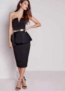 Black bustier dress with basky, with a narrowed hleb