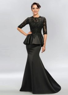 Long black dress with basky