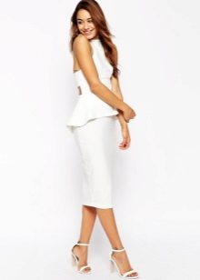 White dress of medium length with basky