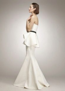 White long bustier dress with basque