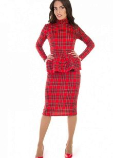 Checkered red dress with basky