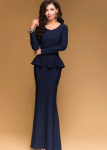 Long navy blue dress with basky